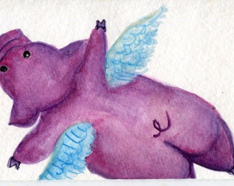 ACEO Original Purple Flying Pig original watercolor painting  Flying pig art card, SharonFosterArt