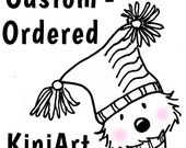 Custom Colored and Matted 5x7 Redrawn KiniArt Doodle Puppy