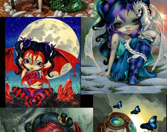 Dragonling Collection Set of FIVE 8x10 art prints by Jasmine Becket-Griffith SIGNED baby fairy dragons