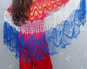Haiti Shawl, American Flag Wrap. July 4th, Red White and Blue, Stars and Stripes,Lace Wrap,Summer Fashion, USA Kimono, Crochet Lace Shawl