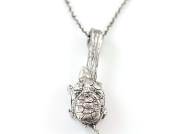 Mom and Tiny Turtle Pendant in Sterling Silver - Made to Order