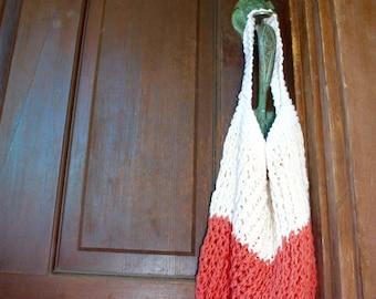 The Summer Market Bag, Coral, Cream and White, reusable shopping bag, beach bag, market bag