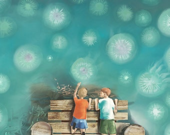 Colorful Nursery Decor - Alphabet - J - Watching Jellyfish from the Jetty - A3 (Large) fine art print