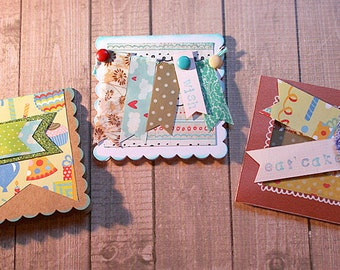 "Set of Three 3"" x 3"" Banner Birthday Greetings with envelopes"