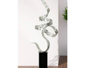 Silver Modern Metal Sculpture, Large Freestanding Garden Art, Abstract Yard Decor - Silver Perfect Moment by Jon Allen