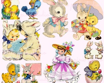 Easter Cuties DIGITAL collage sheet, instant download, printable collage sheet