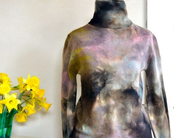 Hand Dyed Sweater Turtleneck in Stormy Colors Purple Brown Gray Yellow Large
