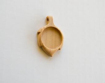 Leaf pendant blank finished hardwood - Maple - 25.5 mm cavity - (G62p-Mp)