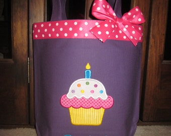 TOTE BAG Cup Cake Birthday Cake Personalized Toddler or Big Kid Tote