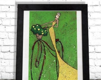 Elegant Woman Bicycle Art Print, Chanel Home Decor, Modern Farmhouse,Colorful Wall Hanging, Boutique Salon Artwork Housewarming Gift for Her