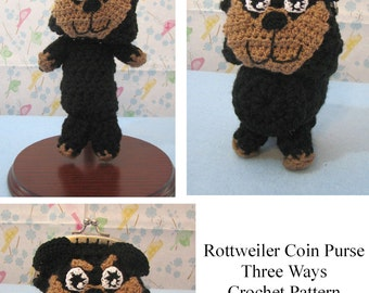 Crochet Pattern To Make a Rottweiler Coin Purse Three Ways In USA Terms, PDF, Digital Download