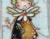 Original Folk Art Mixed Media Painting- Daisy Flower FAiry - DaisyMae - Free U. S. shipping