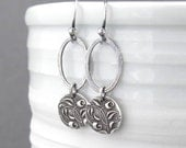 Small Silver Earrings Dangle Silver Earrings Simple Jewelry Rose Jewelry Gift for Her Under 50 Modern Jewelry - Adorned Aubrey