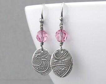 Pink Crystal Earrings Rose Pink Earrings Sterling Silver Drop Earrings Small Dangle Earrings Silver Jewelry Crystal Jewelry - Tracey