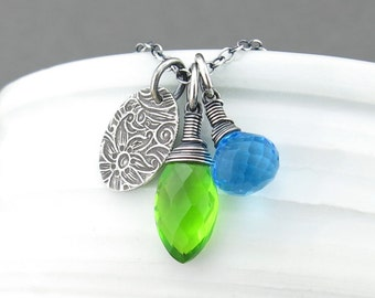 Peridot Charm Necklace Blue Necklace Long Silver Necklace Pendant Silver Pendant Necklace Gemstone Necklace Handmade Jewelry - Duets