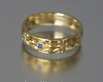 EVERGREEN LAUREL 14k gold band with Blue Sapphire
