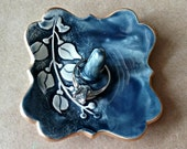 Small Ceramic Ring Holder Navy Blue Vine 3 inches wide edged in gold