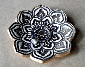 Ceramic Lotus Ring dish  Brown  gold edged