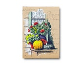 Original ACEO Ink and Watercolour pumpkins flowers doorstep pen and wash on old vintage paper SFA watercolor art CRIDER