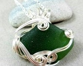 Emerald Green Puerto Rico Sea Glass Silver Wire Wrapped  Pendant Necklace