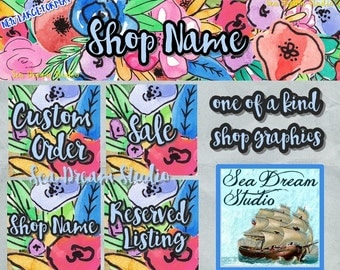 Fun Watercolor Florals Etsy shop Banner and Avatar by Sea Dream Studio  OOAK