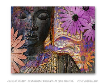 Buddha Art Canvas - Buddhist Floral Wall Art - Jewels of Wisdom Colorful Buddha Art by Christopher Beikmann