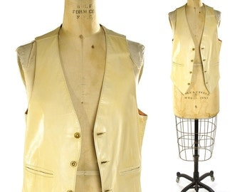 70s Creme Leather Vest / Vintage 1970s Western Leather Hippie Vest / Boho Hipster Bohemian Motorcycle Vest / Made in CA / Women's Small