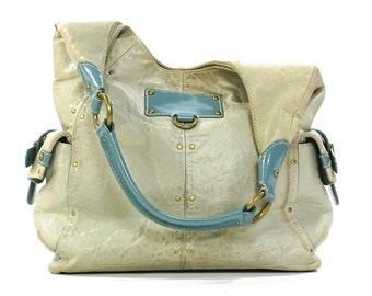 90s Distressed Leather Hobo Bag / Vintage 1990s Soft & Slouchy Blue Leather Shoulder Bag / Large Etienne Aigner Purse with Lots of Pockets