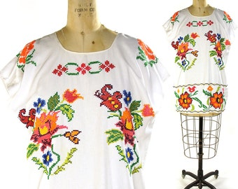 Embroidered Huipil Blouse / Vintage 1970s Cross Stitch Peasant Blouse / White Cotton Guatemalan / Mexican Tunic