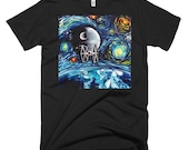 Star Wars Death Star Art T Shirt - Men's Clothing - shirt featuring van Gogh Never Saw The Empire Starry Night by Aja Small - 3XL