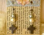 Silver Crosses With Pearl Earrings