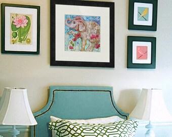 Mixed Media Art PRINT | Elephant art | poppies | gray pink blue | Elephant Dreams | animal art