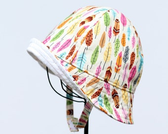 Baby and Toddler Sun Hat in Colorful Feather Print