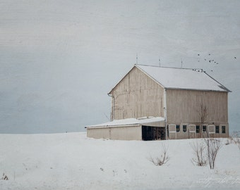 Fine Art Print, Barn Photo, Farm Art, Snow, Winter Landscape, Maryland, Countryside, Mixed Media, Rural, Rustic Decor, Woodland, 8x12 Print