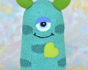 Handmade Sock Monster Doll, Plush Stuffed Art Toy, Hug Me Monster, Personalized Tag, Aqua, Turquoise, Green, Blue, 11 inch, Ready-made