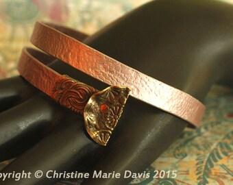 SALE Light Pink SMASHED aluminum metal knitting needle Bangle with smashed BUTTONS... recycled vintage boho gypsy style bracelet -