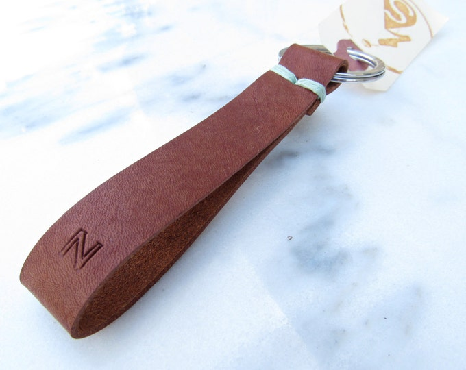 Clearance Sale: **READY TO SHIP** Initial Stitch Leather Keychain, 'N'.