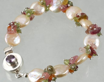 FINAL SALE - Peach Coin Pearl Tourmaline Nugget Peridot Vesuvianite Sterling Silver Bracelet