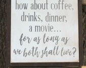 "made to order How about Coffee... You've Got Mail Movie Quote | 13x13"" handpainted wood sign 