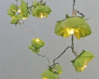 Spring Green Rambling Rose Fairy Lights, Rose String Lights, Battery Fairy Lights, Flower Fairy Lights