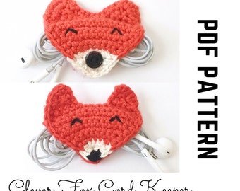 Earphone Holder Fox Crochet Pattern and Photo Tutorial with Snap or Button Closure to organize USB cables, Chargers, and Cords PDF DIY Gift