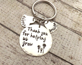 personalized key chain-nanny gift-thank you for helping us grow-grandma gift-nana gift-preschool teacher gift-teacher gift