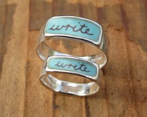 Write Band Ring - Sterling Silver and Vitreous Enamel Script Ring - Ring for Writers and Poets