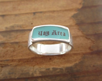Yay Area Band Ring - Sterling Silver and Vitreous Enamel Yay Area Ring