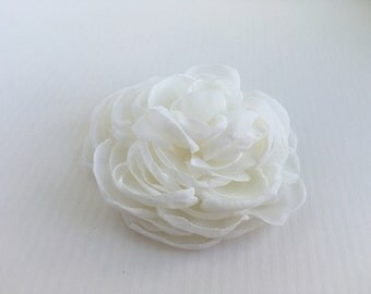 Ivory Flower Hair Clip.Peony Bridal Headpiece.Off white.pin.chiffon fabric brooch.flower hair accessory.fascinator.wedding hair piece. 3""