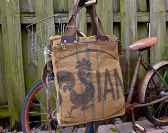 Sian - Vintage French Grain Sack - chicken - Book Tote W- OOAK Canvas & Leather Tote... Selina Vaugha