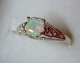 Opal filigree Ring eco-friendly sterling silver with Fair Trade Genuine natural opal - Custom Made in your Size in the USA
