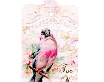 Pink Bird Gift Tags , For You Tags , Vintage Style Tags