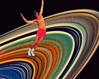 SKATEBOARDING ON SATURN - Colorful Collage - Mixed Media Art Unique Collage on Paper Original Mixed Media Psychedelic Surreal Cool Art Print