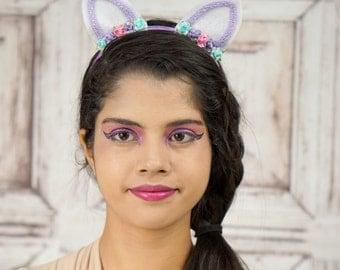 Lolita Cat Ears, Pastel Cat Ears, Pink and Purple, Costume Cat Ears, Cat Costume, Mori Kei, Lolita, Sweet Lolita, Cat Headband